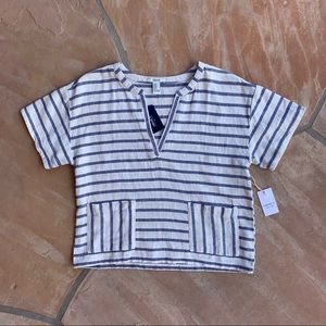 Forever 21 Striped Split Neck Shirt